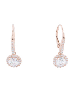 Sterling Silver Cz 6mm Round Halo Drop Earrings