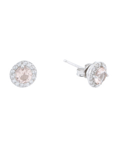 Sterling Silver 5mm Morganite Cz Halo Stud Earrings