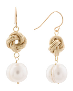Made In Italy 14k Gold Love Knot Pearl Drop Earrings