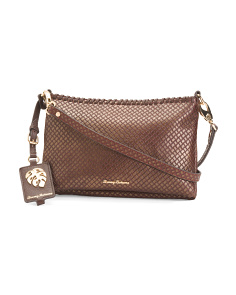 Exumas Textured Double Zip Leather Bag