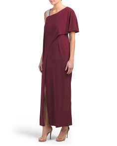 Petite One Shoulder Asymmetrical Drape Gown