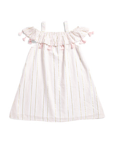 Little Girls Cold Shoulder Tassel Ruffle Dress