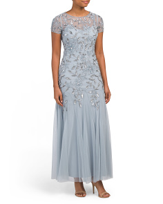 Petite Embroidered Mesh Gown