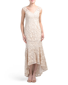 Petite Fitted Lace Gown With Hi-lo Hem