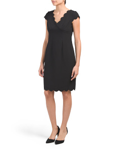 Petite Scallop Trim Slim Column Dress