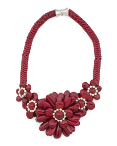 Dark Red Howlite And Silver Bead 5 Flower Necklace