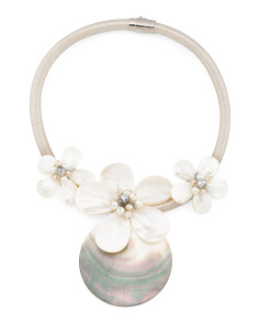 Abalone 3 Flower Collar Necklace