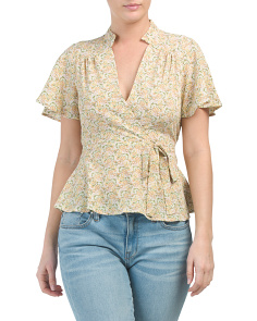 Juniors Flare Sleeve Floral Top
