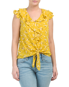 Juniors Ruffle V-neck Top