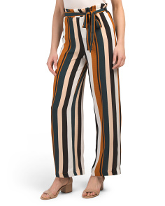 Juniors Belted Paperbag Waist Pants