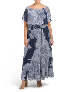 Plus Off The Shoulder Printed Maxi Dress