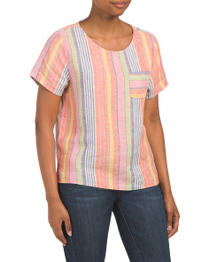 Linen Yarn Dyed Striped Hi-lo Hem Top