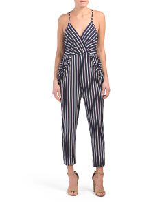 Stripe Drape Pocket Jumpsuit