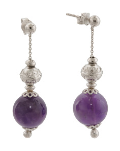 Made In Italy Sterling Silver Amethyst Drop Earrings