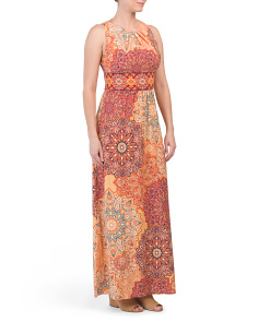 Pleat Neck Maxi Dahlias Print Dress