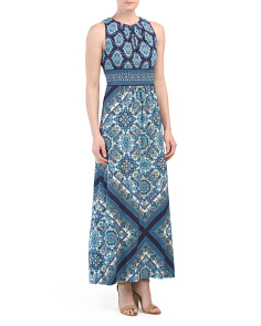 Pleat Neck Tile Print Maxi Dress