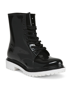 Lace Up Lug Sole Rain Boots