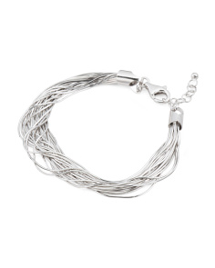 Made In Italy Sterling Silver 21 Row Snake Bracelet
