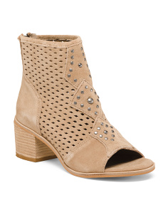Made In Brazil Suede Peep Toe Booties