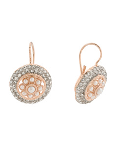 Made In Italy Rose Gold Plated Bronze Pearl And Cz Earrings