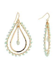 Made In Brazil 14k Plated Mint Chalcedony Teardrop Earrings