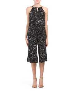 Gaucho Jersey Happy Dot Print Jumpsuit