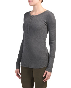 Made In Usa Thermal Long Sleeve Henley Neck Top