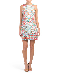Cotton Blend Stitchwork Print Shift Dress