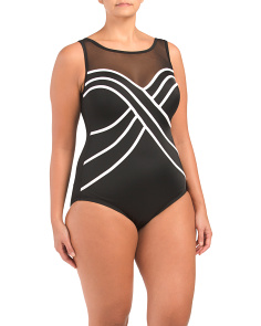 Plus Spotlight Mesh One-piece Swimsuit