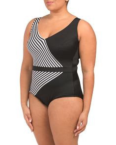 Plus Mod Squad Faux Surplice One Piece Swimsuit