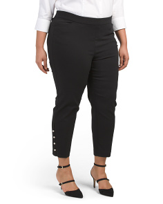 Plus Super Stretch Pants With Pearl Detail
