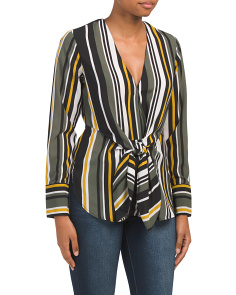 Juniors Tie Front Multi Stripe Top