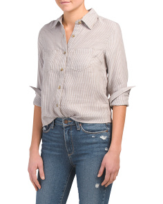Juniors Multi Stripe Woven Shirt