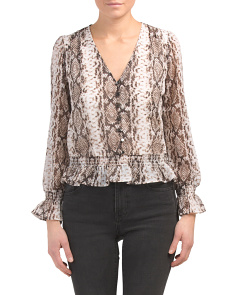 Juniors Button Front Snakeskin Print Top