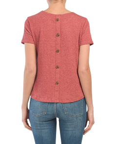 Button Back Tie Front Tee