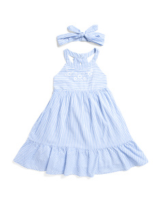 Little And Big Girls Striped Dress With Headband