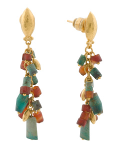 Made In Turkey 24k Gold And Phoenician Bead Earrings
