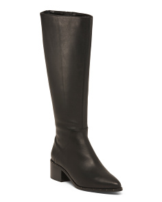 Knee High Leather Boots With Buckle Detail