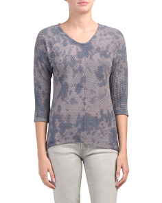 Three-quarter Sleeve Textured Knit Top