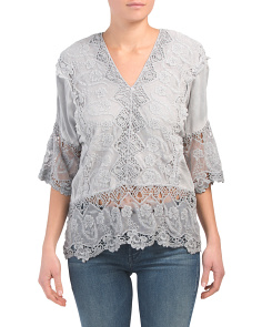 Made In Usa Lace And Crochet Trim Top