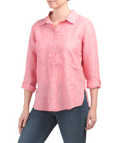 Linen Cross Dye Popover Collar Top