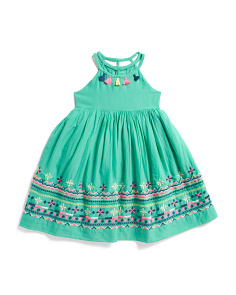 f5f09ded1 Toddler Girls Neon Tassel Embroidered Dress ...