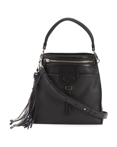 Made In Italy Thea Small Leather Bucket Bag