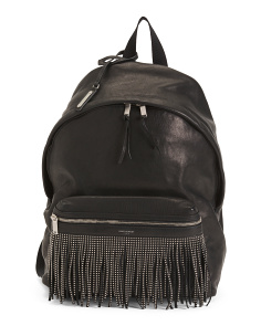 Made In Italy Studded Fringe Leather Backpack