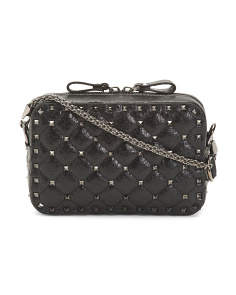 Made In Italy Crinkled Leather Studded Crossbody