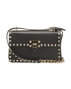 Made In Italy Leather Studded Small Crossbody