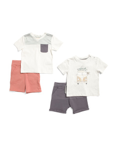 Toddler Boys 4pk Mix & Match Top And Short Set