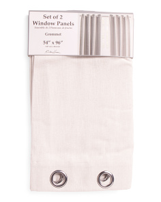 Set Of 2 54x96 Luxe Linen Look Metallic Curtains
