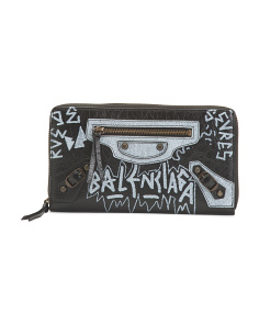 Made In Italy Leather Boxed Graffiti Wallet