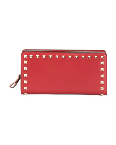 Made In Italy Leather Boxed Studded Wallet